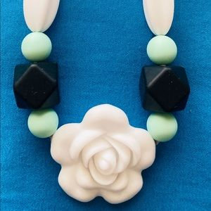 New White Flower Teething Necklace. Silicone Beads